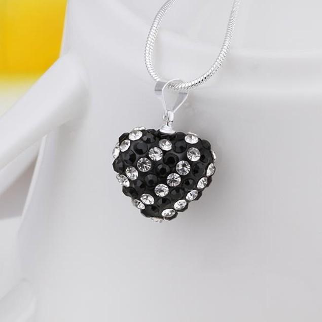 Multi-Toned Austrian Stone Heart Shaped Necklace - Onyx