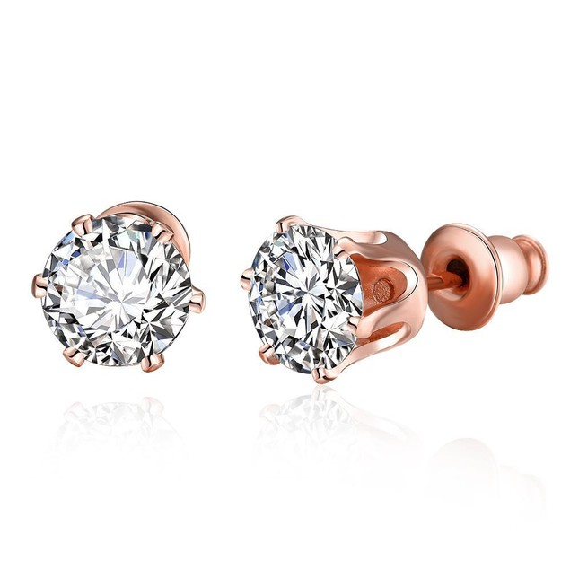 Rose Gold Plated Crystal Studs
