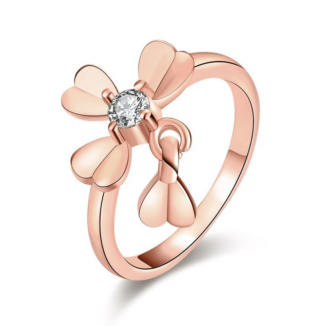Rose Gold Plated Petite Clover Ring