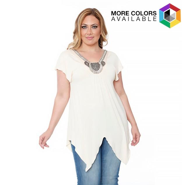 Women's Plus-Size 'Fenella' Embellished V-neck Top