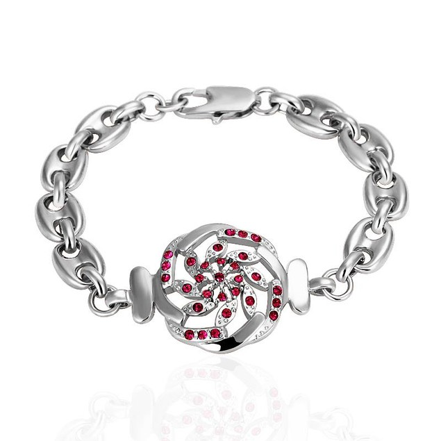 White Gold Plated Thin Line Bracelet with Austrian Crystal