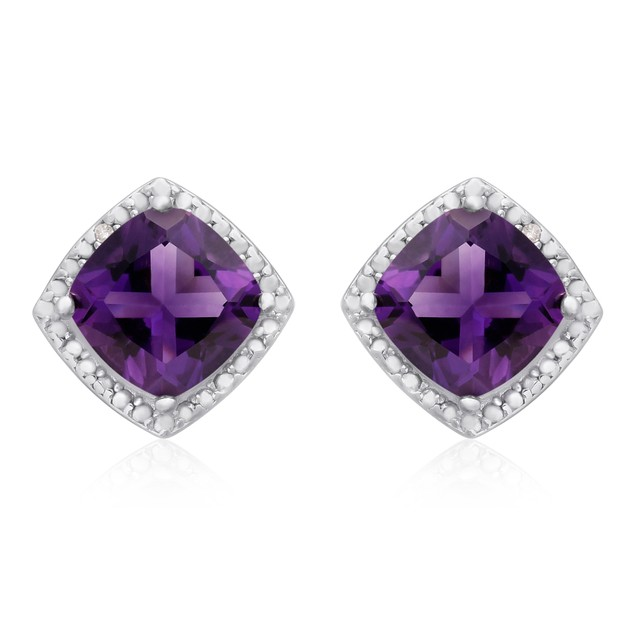 3 3/4 Ct Amethyst and Diamond Earrings
