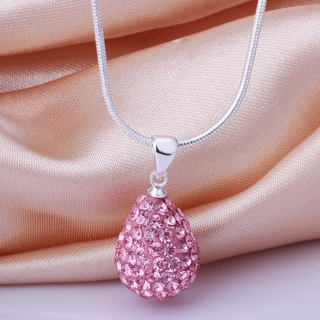 Solid Austrian Stone Pear Necklace - Light Coral