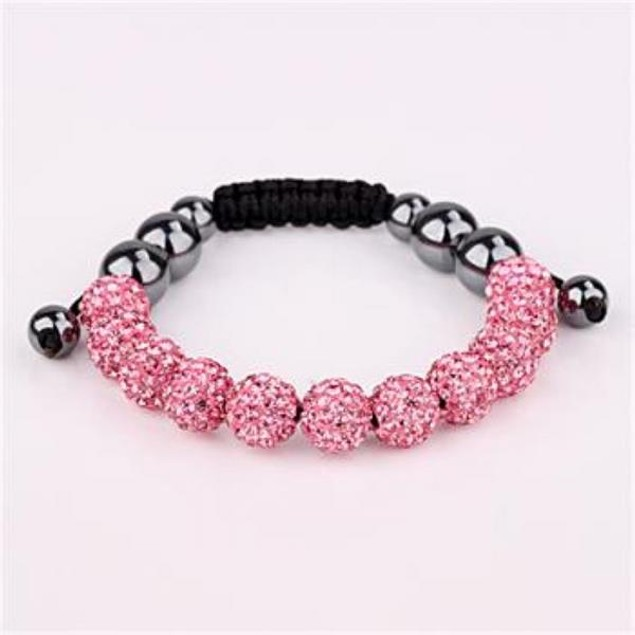 Disco Ball Eleven Beads Austrian Crystal Bracelet - Vivid Light Coral