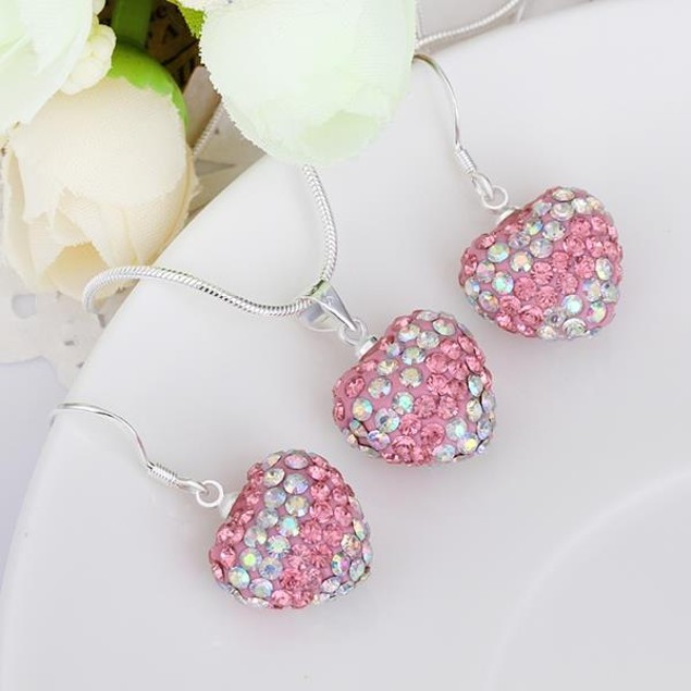 Multi-Pave Heart Drop Earring and Necklace Set - Light Pink Crystal