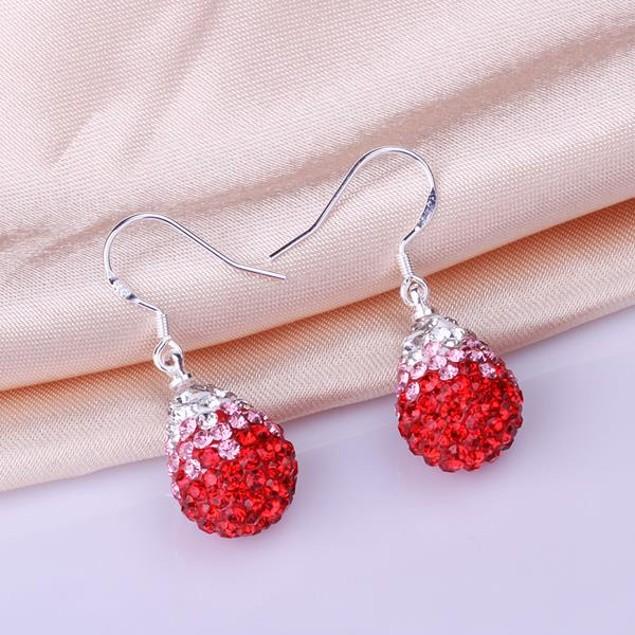 Oval Shaped Austrian Stone Drop Earrings -Red