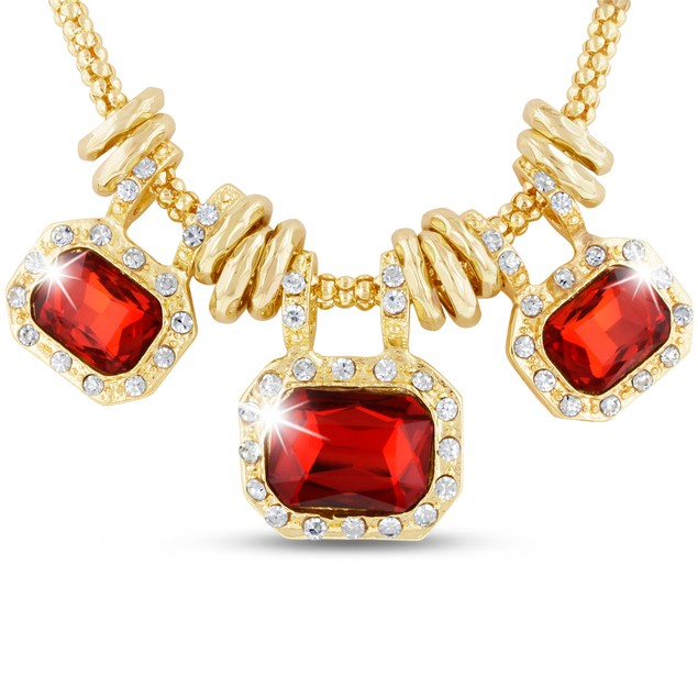 18 Karat Gold Plated Ruby Red Glass And Crystal Statement Necklace, 18 Inches