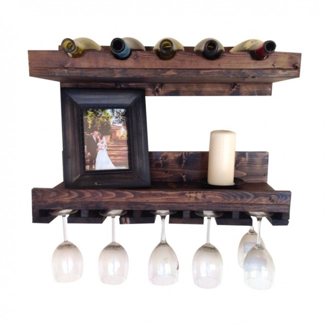 Set Of 2 Rustic Luxe Tiered Wine Rack - 24 x 10