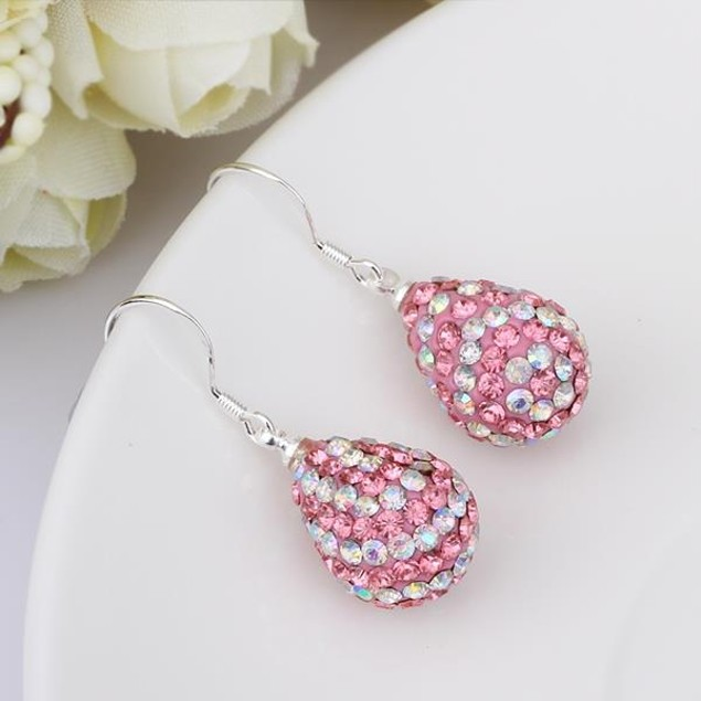 Two Toned Austrian Stone Pear Shaped Drop Earrings -Light Coral