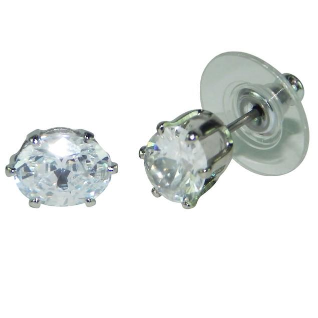 .925 Sterling Silver Oval Cubic Zirconia Stud Earrings