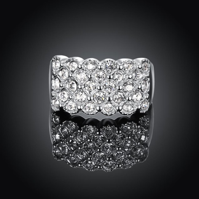 White Gold Plated X Ring