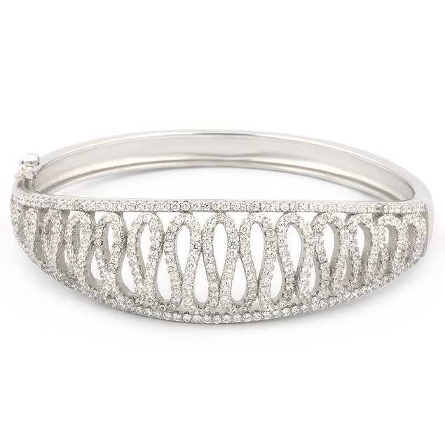 Sterling Silver Open Wave Bangle