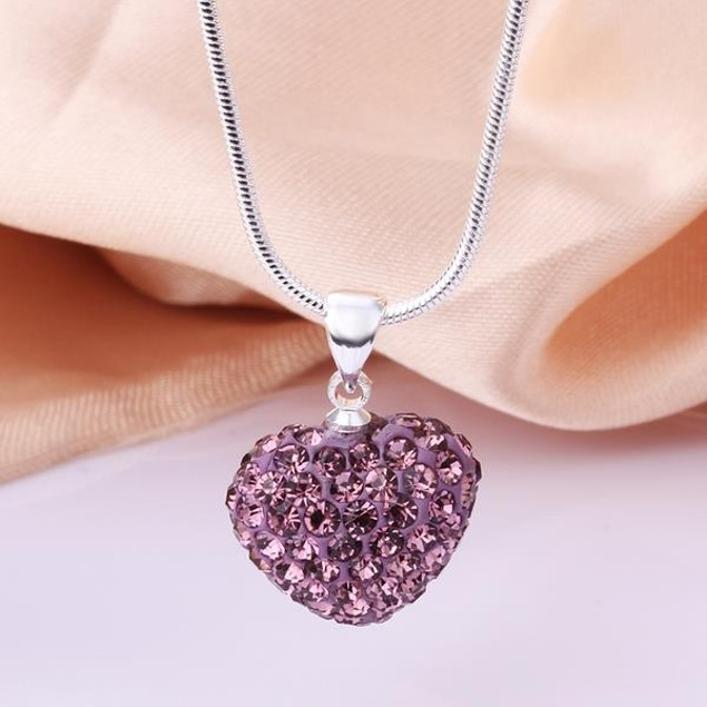 Solid Austrian Stone Heart Shaped Necklace - Light Lavender