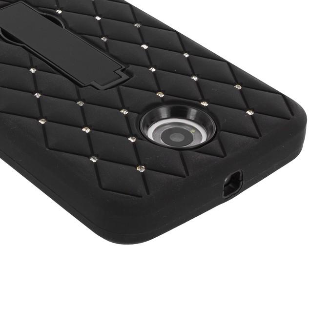 Motorola Google Nexus 6 Hybrid Diamond Bling Hard Soft Case Cover Stand