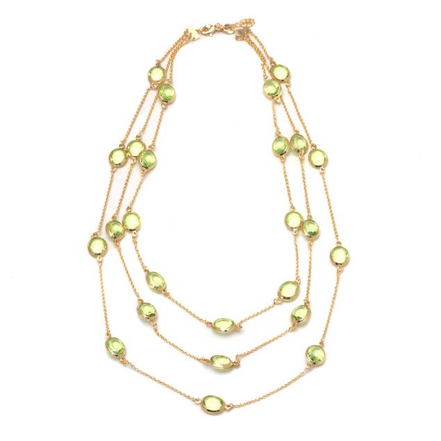 Gold Necklace with Lime Crystals