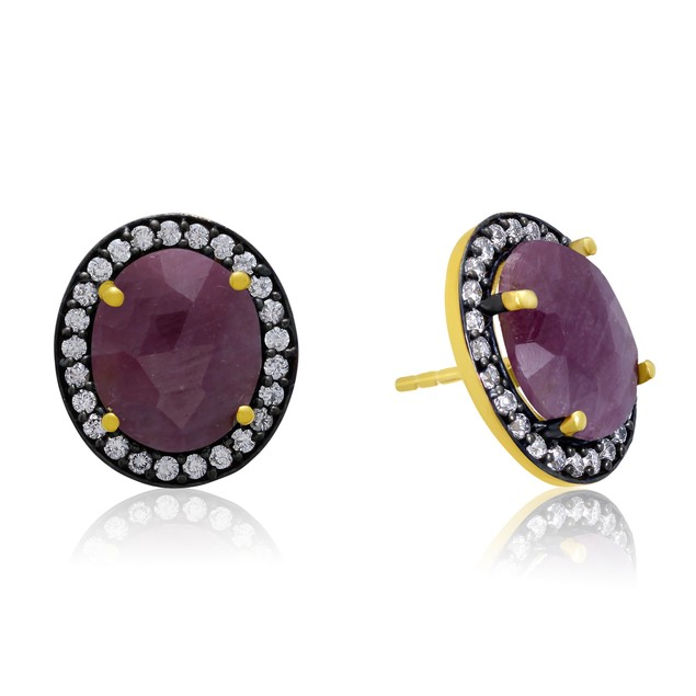 20 Carat Natural Pink Sapphire  Earrings In 18 Karat Gold Over Silver