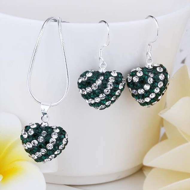 Austrian Stone Multi-Pave Heart Drop Earring and Necklace Set - Green