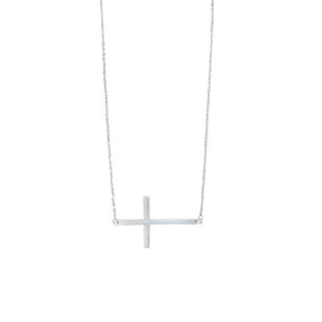 Sterling Silver Sideways Cross Rolo Necklace