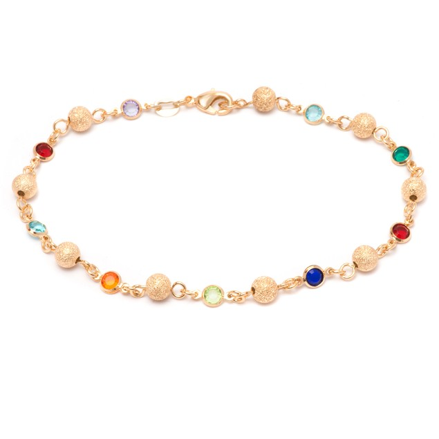 Gold & Multi Color Crystal Ball Anklet