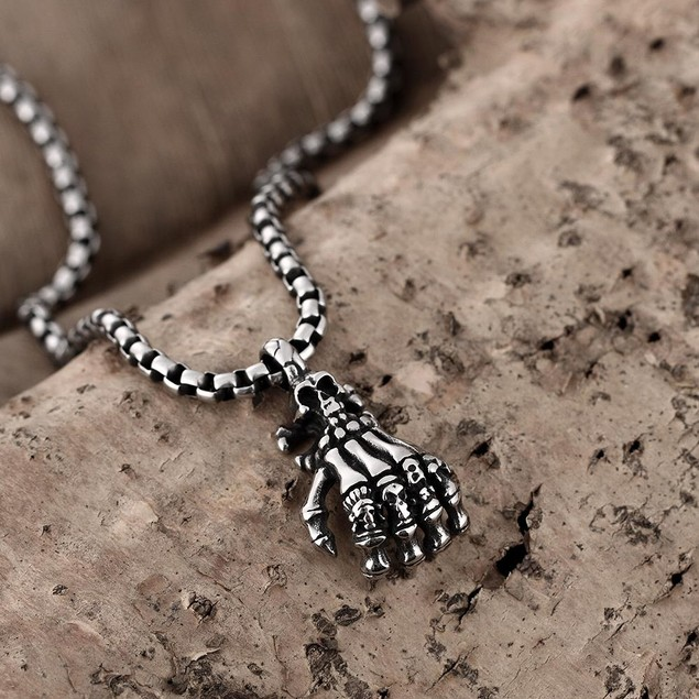 Alpha Steel Five Fingers Stainless Steel Emblem Necklace