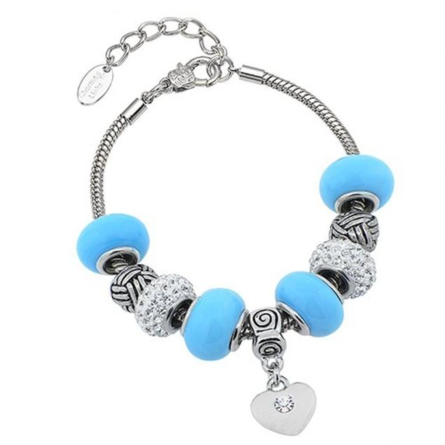 Heart Charmed Murano Bracelet Made with Swarovski Elements