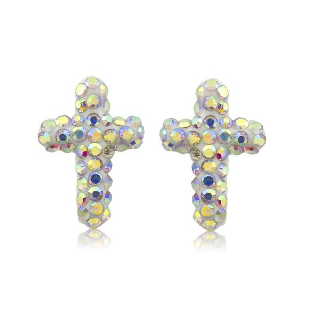 Sterling Silver Sparkling Crystal 10mm Stud Earrings - Cross Rainbow
