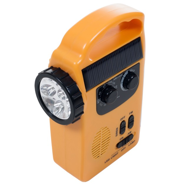 Stalwart Emergency Flashlight, Radio & Siren - 4 Power Supplies