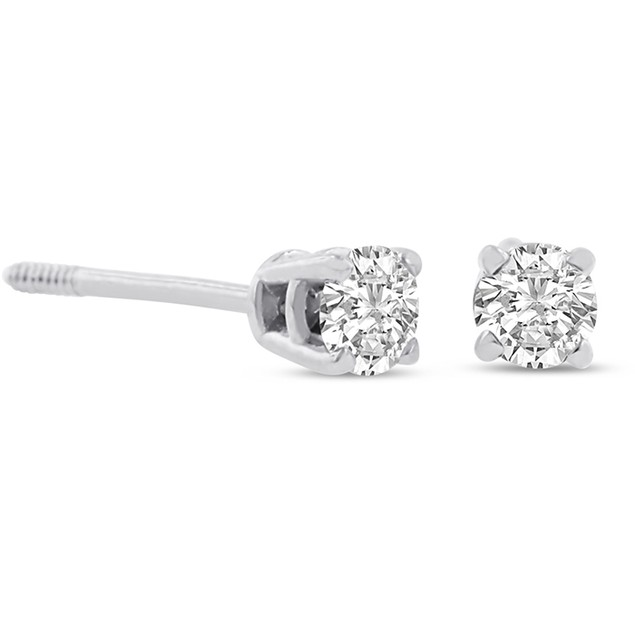 Certified 1/4ct Natural Genuine Diamond Stud Earrings In 14 Karat White Gold
