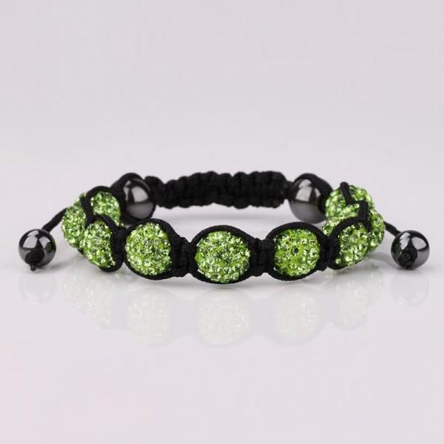 80's Glam Eight Beads Austrian Crystal Bracelet - Bright Emerald