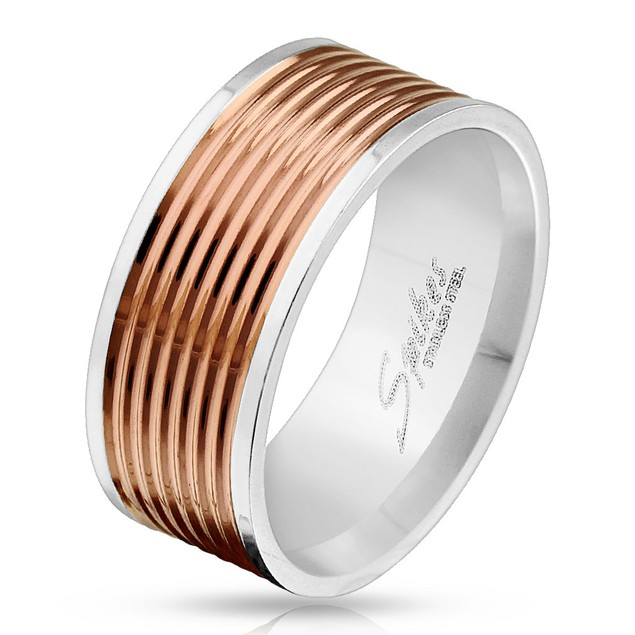 Multiple Lines Grooved Rose Gold IP Center Stainless Steel Ring