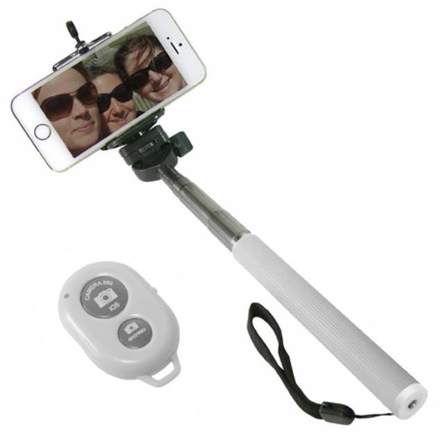 Bluetooth Selfie Stick w/ Keychain Shutter Remote
