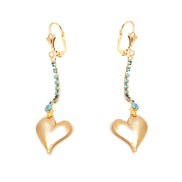 Gold & Aqua Crystal Heart Drop Earrings