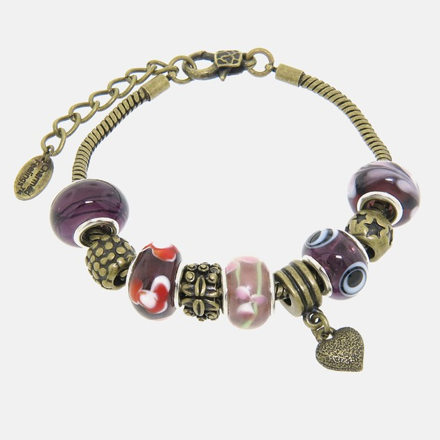 Brass Plated Purple Murano Style Charm Bracelet