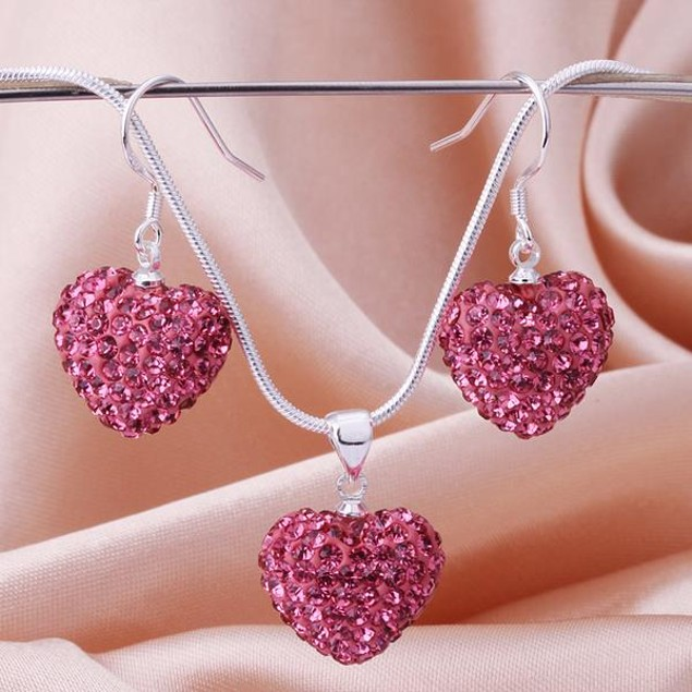 Austrian Stone Solid-Pave Heart Earring and Necklace Set - Solid Pink