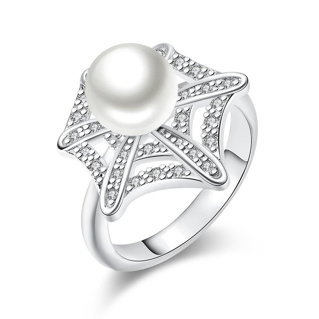 White Gold Plated Pearl Infusion Ring