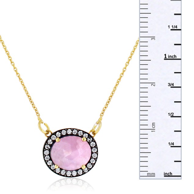 13 Carat Natural Pink Sapphire  Necklace In 18 Karat Gold Over Silver