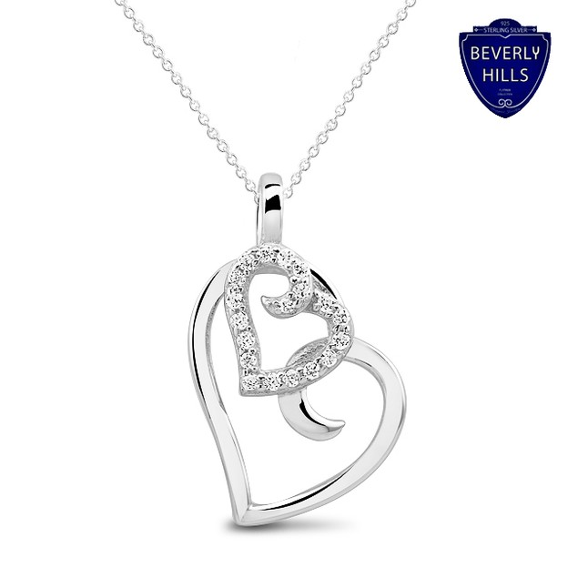 Sterling Silver 1 Ct Simulated Diamond Heart Pendant