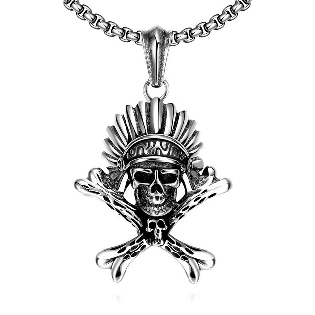 Alpha Steel Chief Skull Emblem Stainless Steel Necklace