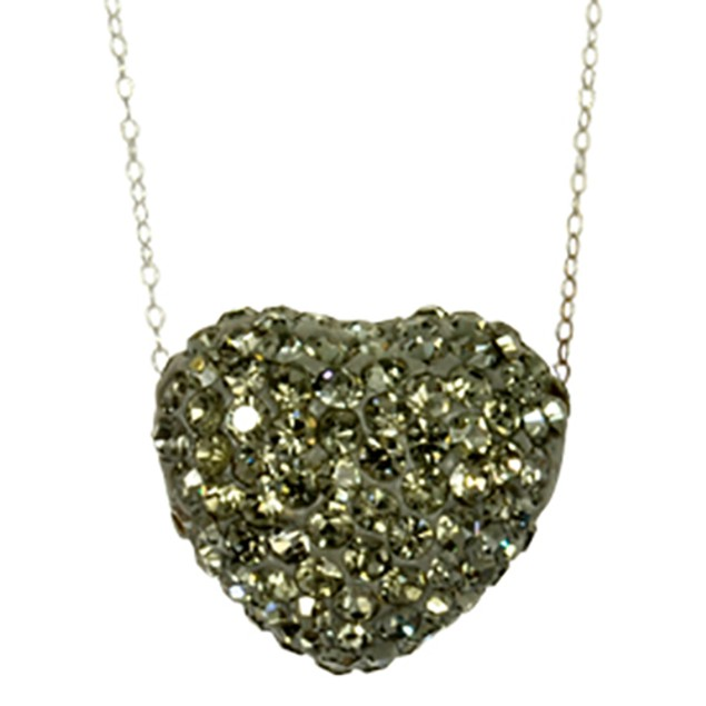 Fine Silver Plated Crystal Grey Crystal Heart Pendant