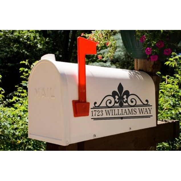 Fleur De Lis Mailbox Decal