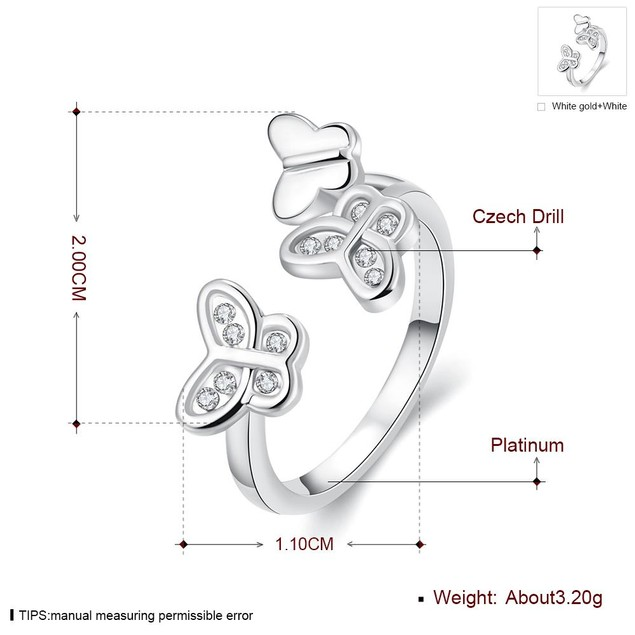 White Gold Plated Butterfly Ring