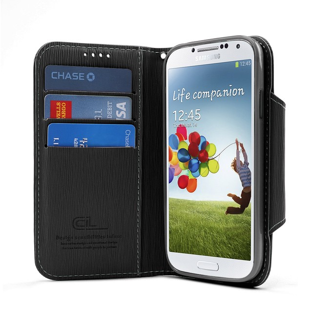 Black Cellto Faux Leather Diary Flip Case w/ ID Slots, Bill Fold, & Magnetic Closure for Samsung Galaxy S4