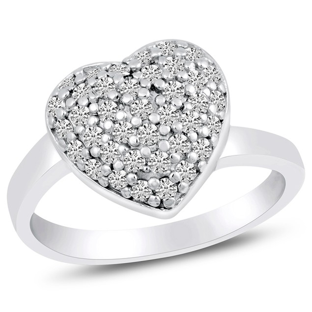 Sterling Silver Simulated Diamond Micro Pave Heart Ring