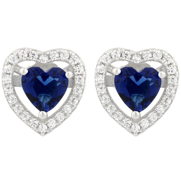 Sterling Silver Sapphire Simulated Diamond Halo Set Heart Shaped Earrings