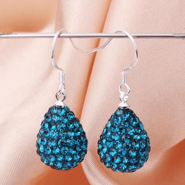 Pear Shaped Solid Austrian Stone Drop Earrings - Dark Blue