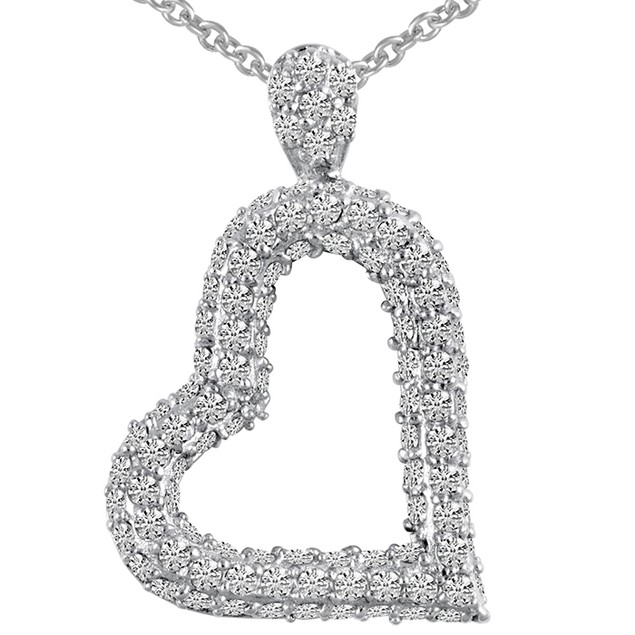 Sterling Silver Micro Pave Simulated Diamond Tilted Heart Pendant