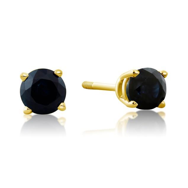 14k Yellow Gold & 0.60ct Blue Sapphire Stud Earrings
