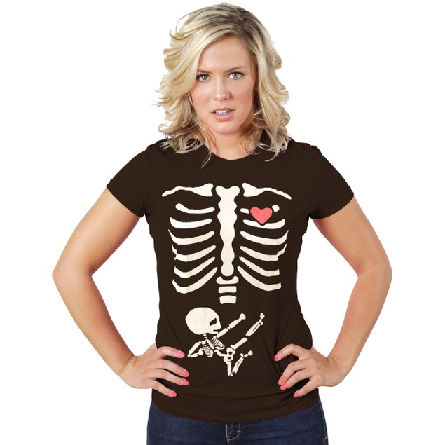Body and Baby Skeleton T-Shirt for Halloween