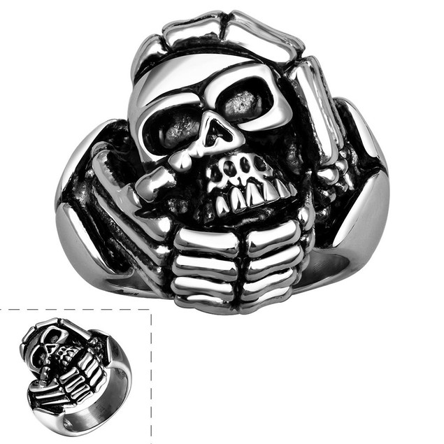 Circular Skull Emblem Stainless Steel Ring