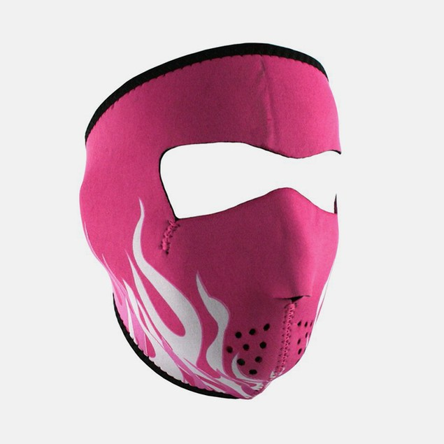 Pink & White Flames Graphical Neoprene Full Face Mask